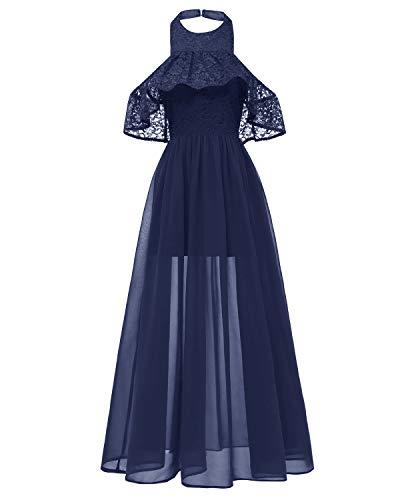 LA ORCHID Laorchid damska sukienka szyfonowa, długa sukienka w stylu vintage lat 50., bez rękawów, dla druhny, na imprezę koktajlową