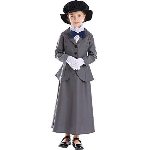 NIMIFOOL Kostüme für Kinder Polyester Material Mädchen 60er Jahre Retro Anzug Anzug Eltern-Kind Familie geeignet für Halloween-Schulparty Cosplay,L