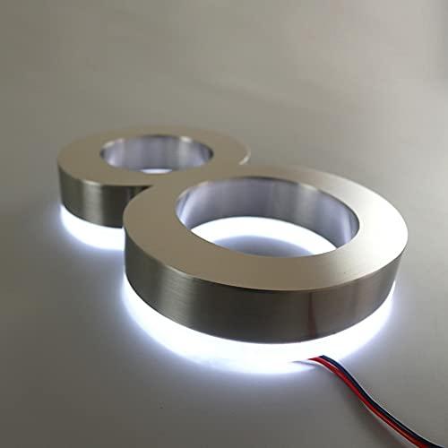 20 500mm de acero inoxidable retroiluminado LED 3D número de casa flotante, aspecto moderno a escala, números de casa iluminados, números de dirección iluminados, níquel cepillado