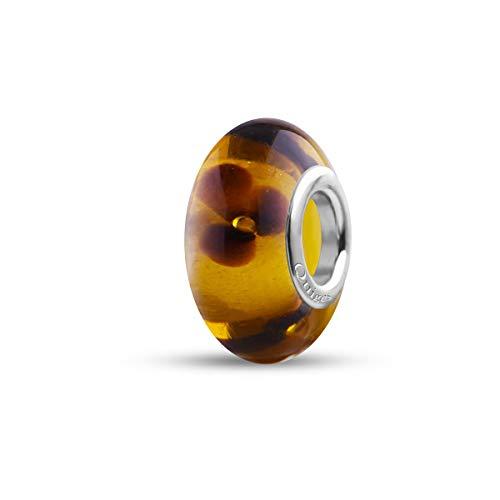 Preisvergleich Produktbild Quiges Glas Bead Perle für Damen Handgemacht Honig mit Braunen Blumen