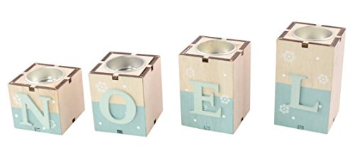 Chaks 90858, Bougeoirs 4 Cubes Noël en bois coloris naturel/ciel