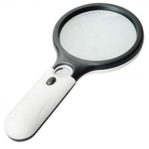 Fan-Ling 45X Handheld 3 LED Light Magnifier Reading Magnifying Glass Lens Jewelry Loupe,Magnifying Glass Reading Aid Lens,Ideal for Reading Small Prints & Low Vision