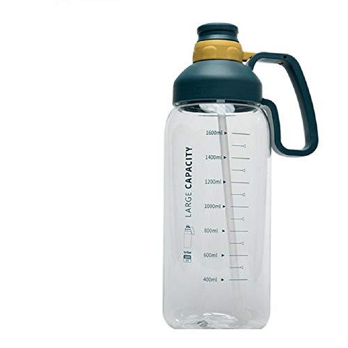 Botella De Agua Portátil De Gran Capacidad Con Escala Taza De Agua De Paja Para Deportes Para Adultos Para Hombres Y Mujeres Taza Al Aire Libre Botella De Agua De Gran Tamaño Para Ejercicios-Azul