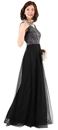 [アールズガウン]ロングドレス 結婚式 母親 親族 マザーズドレス 大きいサイズ ドレス ワンピース ブラック 黒 おおきいサイズ 演奏会 発表会 ステージドレス FD-180095-B (LL)