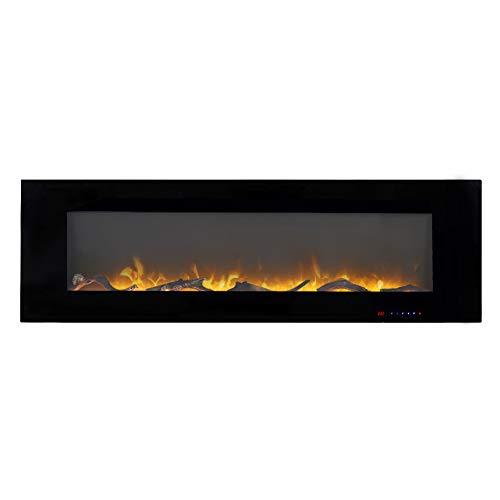 X&JJ Multifunktions-Elektro-Kamin, Einbau und die Wand befestigten Kabel-Management und LED Flammeneffekt, Schwarz