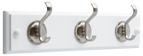 14-Inch Hook Rail/Coat Rack with 3 Coat and Hat Hooks, Flat White and Satin...
