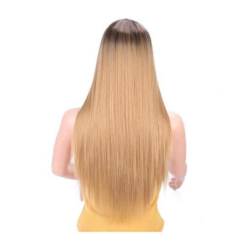 PJPPJH Perruques pour Femmes Cheveux Humains Noir Longue Ligne Droite synthétique Perruque Mixte Marron et Blonde Longue