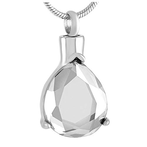 Keepsake Pendant Clear, Purple Stone Inlay Memorial Urn Necklace Never Fade Stainless Steel Cremation Urns Pendant Jewelry Women Men