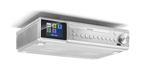 Karcher RA 2060D-S Unterbauradio mit CD-Player, DAB+ / UKW-Radio (je 30 Senderspeicher), USB zur MP3-Wiedergaber & Bluetooth - Wecker (Dual-Alarm) / Countdown-Timer - Fernbedienung