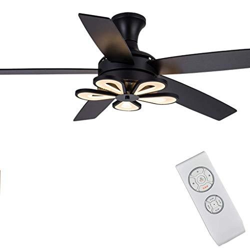 BAIJJ Retro Plafondventilator met 5 houten vleugels, dimbare ledlampen in drie kleuren, afstandsbediening voor motor, energiebesparend, voor gebruik binnenshuis