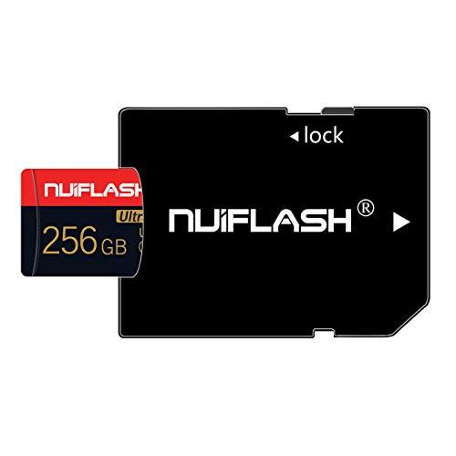 nuiflash 256GB Micro SD Speicherkarte mit SD-Adapter (Schnelle Geschwindigkeit Klasse 10) TF Memory Karte für Kamera, Microsd SD Speicherkarte Card füR Kamera, Handy, Tablet, Spielkonsole, Dashcam