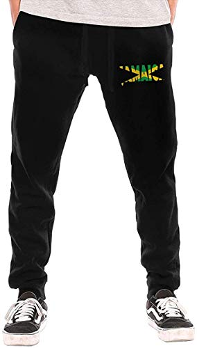 ishengx Jogginghose Herren Jamaica Drawstring Waist,100% Cotton,Elastic Waist Cuffed,Jogger Sweatpants