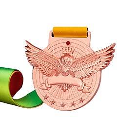 Watermzk Medallas de bronce profesionales personalizadas, para ganador general, grabado logotipo personalizado, 3er premios, 2.75 pulgadas de ancho medallones, con cinta de cuello, (general)..