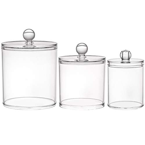 Tbestmax 10/20/36 Oz Cotton Swab/Ball/Pad Holder, Qtip Jar Clear Bathroom Containers Dispenser Clear Lids 3 Set