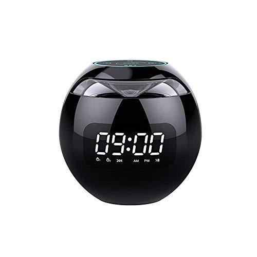 Gymqian Altavoz Portátil Bluetooth 5.0, con un Reloj de Alarma de Luz de Respiración Colorido, Altavoz de Subwoofer de Sonido Envoente, Batería de Radio 2000, Función de Radio Fm In
