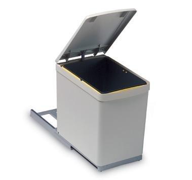 ELLETIPI   Ecofil PF01 34C1   Cubo de Basura para Reciclaje extraíble para Base, plástico y Metal, Color Gris, 23 x 41 x 36 cm