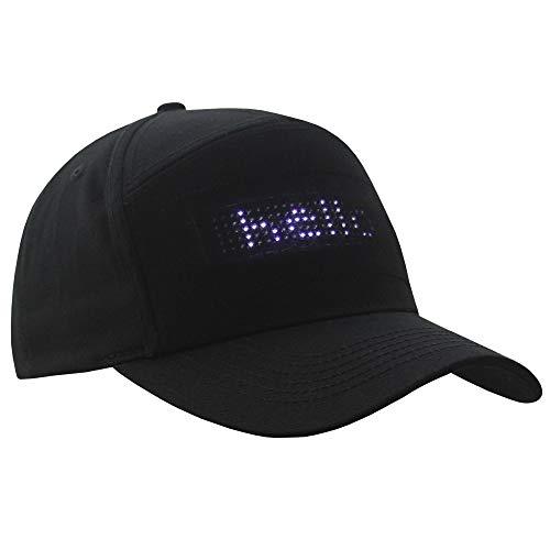 Sidiou Group Sombrero de Pantalla LED Gorra Brillante Sombrero de Tendencia Pantalla de edición de Bricolaje Gorras de béisbol Ligeras del Deporte al Aire Libre Sombrero para el Sol (Negro)