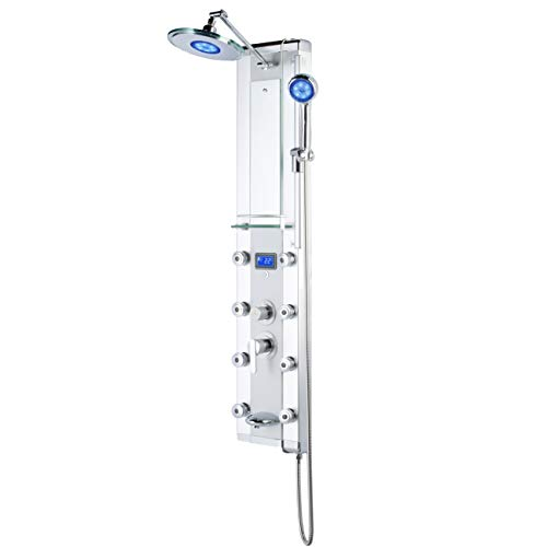 """Blue Ocean 52"""" Aluminum SPA33D Shower Panel Tower with Rainfall Shower Head, 8 Mist Nozzles, and Tub Spout"""