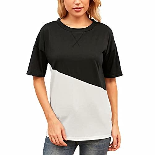 ZFQQ Camiseta de Manga Corta con Cuello Redondo de Color Cruzado con Escote Multicolor de Verano para Mujer