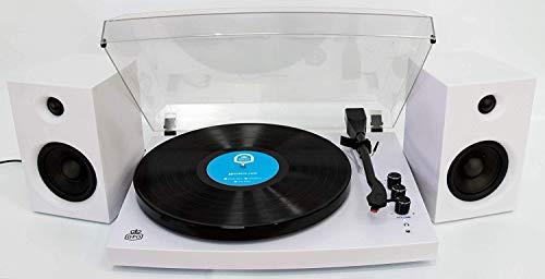 GPO Piccadilly Retro platenspeler met toonhoogteregeling, Bluetooth en externe luidsprekers - wit