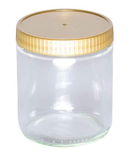 BIENEN SCHMIDT 60 x Neutrales Schraubglas 500g Imkerhonig Honnigglas mit goldenem Deckel ohne Etikett Honig Neutralglas (Deckel ohne Prägung)