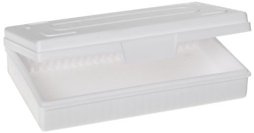 Heathrow Scientific HD15990C White Polypropylene 25 Place Economy Microscope Slide Box, 141mm Length x 92mm Width x 36mm Height