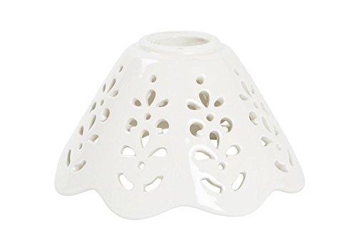 Lampenschirm Keramik weiß mit Lochmuster von Notebook-Applique und Kronleuchter Eisen und Messing