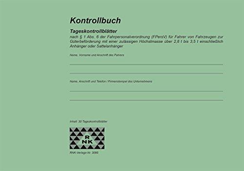 RNK Verlag 3095 - Registro di controllo (ai sensi del par. 1 comma 6 del regolamento sui conducenti), A5 orizzontale, 32 fogli