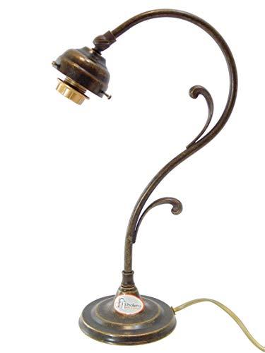 Lampada ottone brunito da tavolo,scrivania,base lampada in stile liberty per la casa o lo studio m0 Misure:H 36cm, Ø base 11,5cm.Portalampade attacco Edison E14