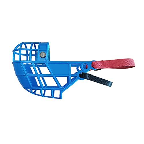 HUI JIN Bozal de plástico ajustable para perros para evitar morder, masticar y ladrar, azul claro