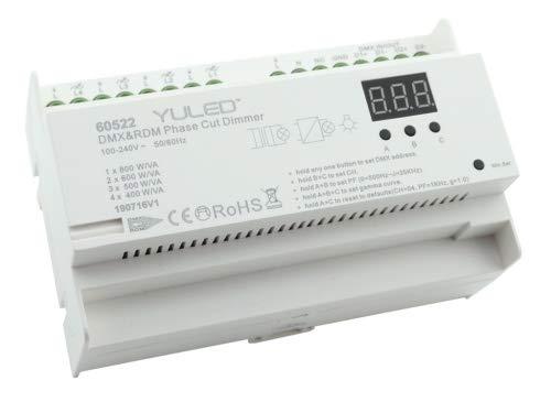 YULED YL-2108AC-DIN DMX/RDM 4-Kanal 4x 400W Dimmer 230V Hutschiene für LED Beleuchtung
