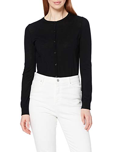 Marchio Amazon - MERAKI Cardigan Lana Merino Donna Girocollo, Nero (Black), 42, Label: S