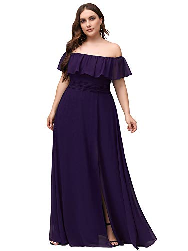 Women's Off The Shoulder Side Split Gowns and Evening Dresses Plus Size Purple US16