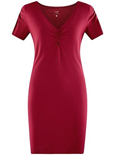 oodji Ultra Mujer Vestido de Silueta Ajustada con Escote en V, Rojo, ES 36 / XS