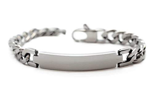 MyOwnName poliertes Herrenarmband mit gratis Gravur | Edelstahlarmband Silber