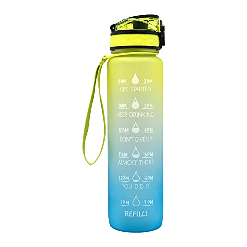 MOVKZACV 1000ml Sports Water Bottle, Water Bottle, Wide Mouth Water Flask with Time Marker for Fitness, Gym, School and Office