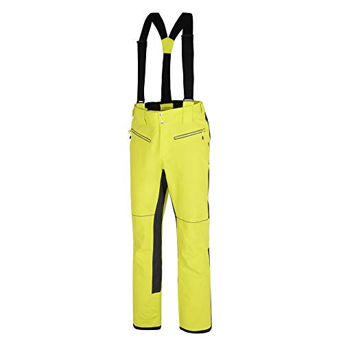 Dare 2b Herren Intrinsic Pant Waterproof & Breathable Ergonomic Fit AEP Kinematics Ski & Snowboard Salopette Trousers with Integrated Snow Gaiters Lifthose, Citron Limette/Ebenholz Grau, M
