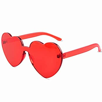 One Piece Heart Shaped Rimless Sunglasses Transparent Candy Color Eyewear Red