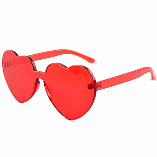 One Piece Heart Shaped Rimless Sunglasses Transparent Candy Color Eyewear(Red)
