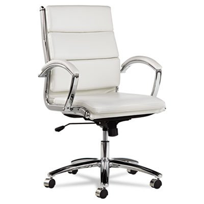 Neratoli Mid-Back Swivel/Tilt Chair, White Stain-Resistant Faux Leather, Chrome, Sold as 1 Each, 6PACK , Total 6 Each