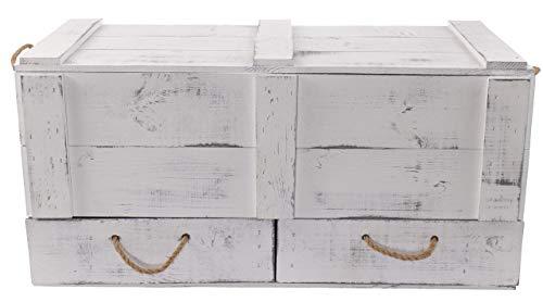 Obstkisten-online 1x Vintage TRUHE - Holztruhe mit Deckel inklusive Zwei Schubladen, mit Kordeln als Griffe - NEU - 85,5x42x43,5 cm - für Decken usw