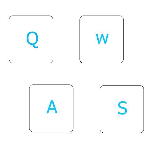 2 Stück transparente englische Tastatur-Aufkleber, englische Tastatur-Ersatzaufkleber mit transparentem Hintergrund und blauer Schrift für Computer, Notebook, Laptop, Desktop