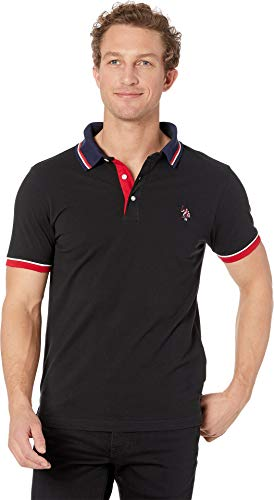U.S. Polo Assn. Slim Fit Contrast Pique Polo Black LG