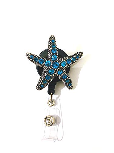 Nurse Badge Reel, Starfish Crystal Style Retractable Badge Holder, 26 inch Retractable Cord, ID Badge Reel with Alligator Clip