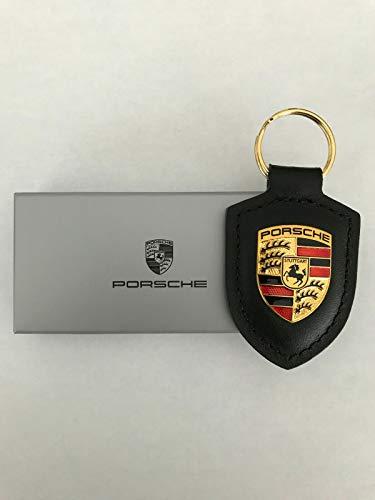 ORIGINAL Porsche Schlüsselanhänger SCHWARZ Leder mit Wappen WAP0500900E