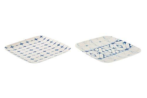takestop Plato cuadrado de bambú reciclable, diseño geométrico aleatorio (22 x 22 x 2 cm)