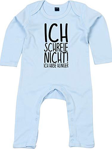 Kleckerliese Baby Strampler Schlafanzug Overall Sprüche Jungen Mädchen Motiv Ich Schreie Nicht! ich Habe Hunger, Dustyblue, 3-6 Monate