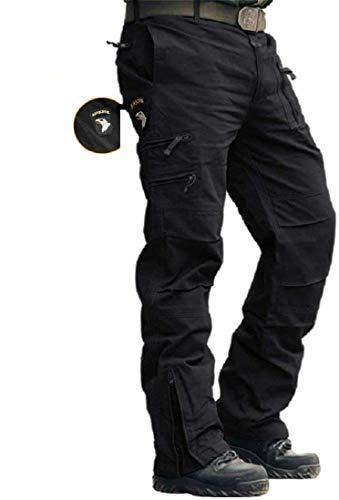 MASSTOR Herren Baumwolle Outdoor Tactical Hose Cargo Hose Männer Combat Hose mit vielen Taschen Arbeitshose Bergsteigen Camping Freizeit (schwarz, XL / 36w)