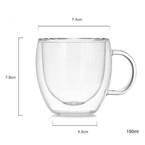 FHC 150 ml de Leche 250 ml Taza, Tazas, Vasos de Vidrio de Doble Pared de Vino de Mesa,Yellow