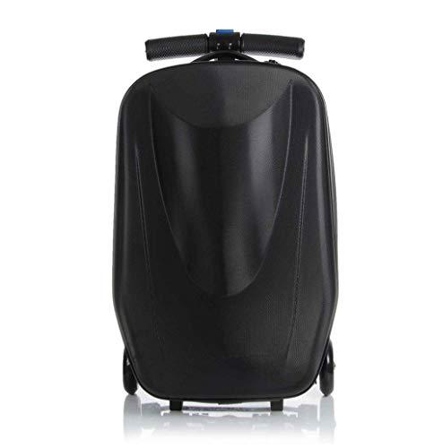 YONH Wa 21 Zoll Pasword Lock Scooter Gepäck Aluminium Koffer mit Rädern Skateboard Rollgepäck Reise Trolley Trolley (Farbe : Schwarz, Luggage Size : 20